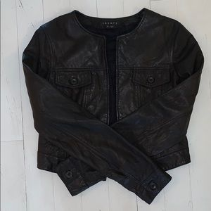Theory Leather Cropped Moto Jacket. Size 8.